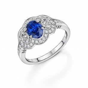 Platinum Ceylon Sapphire and Diamond Ring