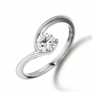 Platinum Diamond Engagement Ring with 0.50ct Brilliant-Cut Diamond