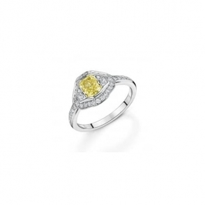 Platinum Fancy Yellow Radiant cut and trap cut diamond Ring