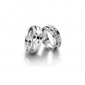Platinum Half Set Diamond Sculptures Wedding Ring