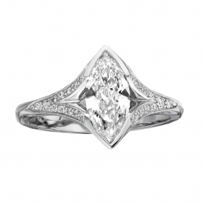 Platinum Marquise Diamond Ring with Pave set shoulders