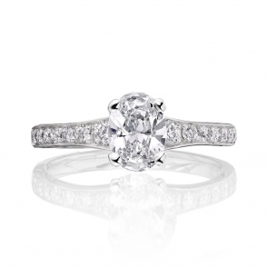 Platinum Oval Diamond Ring with Pave Set Band 2A63A
