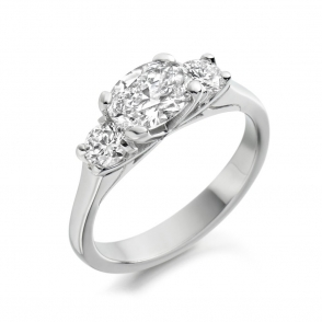 Platinum Oval & Round Diamond Three Stone Ring