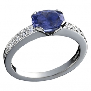 Platinum Oval Tanzanite and Diamond Ring