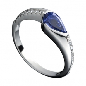 Platinum Pear Shaped Tanzanite and Diamond Ring