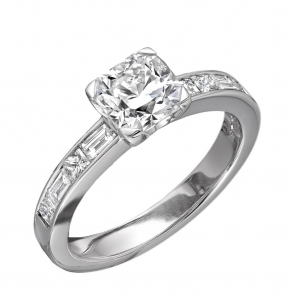 Platinum Radiant Cut Diamond Ring set with Princess & Baguette Cut Shoulders