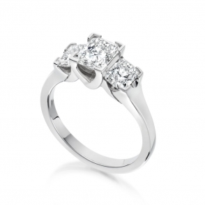 Platinum Radiant Cut Diamond Three Stone Ring 1Y58A