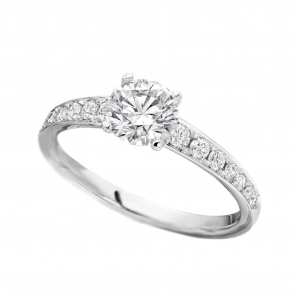 Platinum Single Stone Diamond Ring with graduated Pave set Shoulders