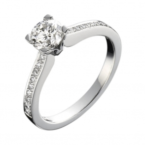 Platinum Solitaire Brilliant Cut Diamond Ring with Pave Shank