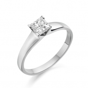 Platinum Solitaire Princess Cut Diamond Ring 1Y50A