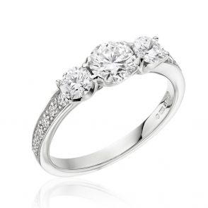 Platinum Three Stone Diamond Ring with Pave Diamond Shoulders