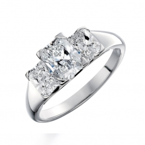 Platinum Three Stone Radiant Cut Diamond Engagement Ring. Design no. 1S372