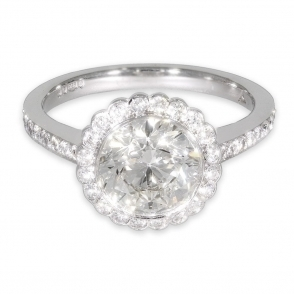 Pre owned halo diamond ring with diamond set shoulders