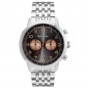 Precision Chronograph Watch Stainless Steel with Black Dial & Gold Sub-Dials