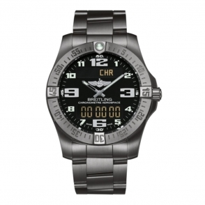 "Professional ""Aerospace Evo"" titanium dual digital/analogue display watch with Volcano black dial - E7936310/BC27"
