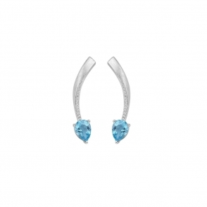 Shooting Star Blue Topaz Short Earrings in Brushed Rhodium Finish