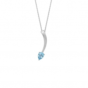Shooting Star Blue Topaz Short Pendant in Brushed Rhodium Finish