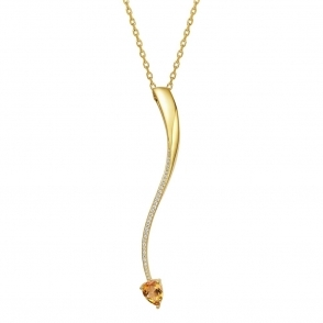 Shooting Star Citrine Long Pendant in Yellow Gold Finish