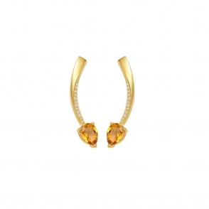 Shooting Star Citrine Short Earrings in Yellow Gold Finish