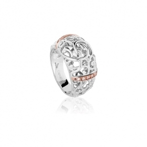 Silver 9ct Gold & Diamond Am Byth Ring
