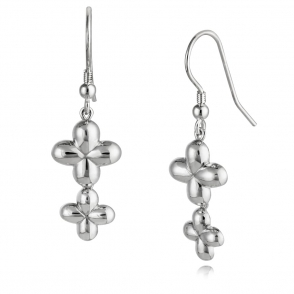 Silver Alban Clover Drop Earrings