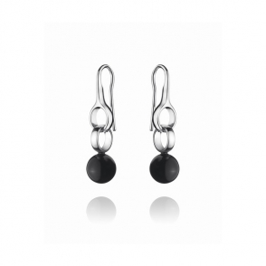 Silver and Black Agate Sphere 473B Earrings