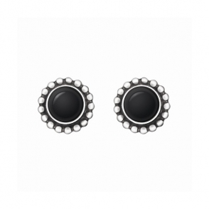 Silver Black Agate Heritage Stud Earrings