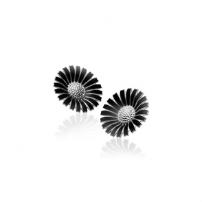 Silver Black Daisy Earclips 33mm