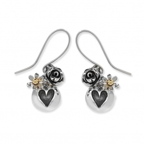 Silver Rose Garden Drop Earrings