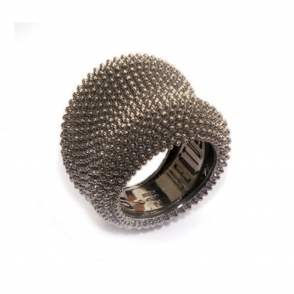 Silver & Ruthenium Pixel Ring