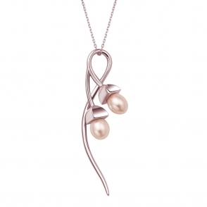 Snowdrop Pearl Double Pendant in Rose Gold Finish