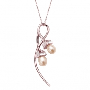 Snowdrop Pearl Double Pendant with CZ in Rose Gold Finish