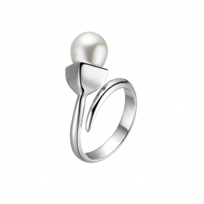 Snowdrop Pearl Ring in Rhodium Finish