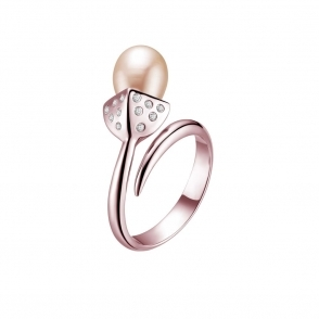 Snowdrop Pearl Ring with CZ in Rose Gold Finish