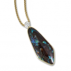Spearhead shaped boulder opal and diamond pendant