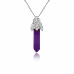 Sterling Silver Amethyst Sword Pendant & Chain