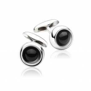 Sterling Silver and Black Agate Sphere Cufflinks