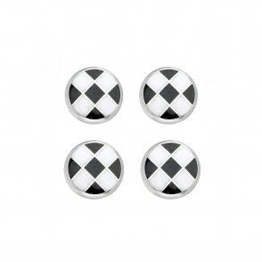 Sterling Silver Black & White Chequerboard Enamel Dress Studs