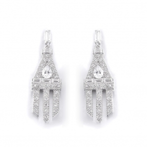 Sterling Silver Deco Daimler Earrings