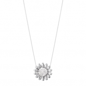 Sterling Silver Diamond Set Sunflower Pendant