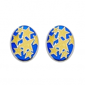 Sterling Silver Enamel Star Oval Cufflinks