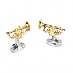 Sterling Silver & Gold Plate Trumpet Spring Link Cufflinks