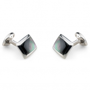 Sterling Silver Grey Mother of Pearl Cufflinks