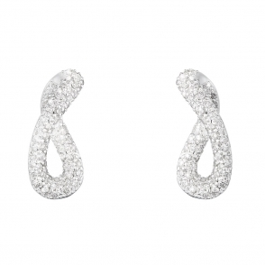 Sterling Silver Infinity Diamond Earrings