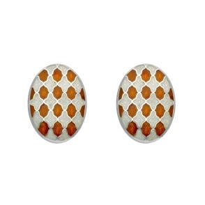 Sterling Silver Oval White & Orange Enamel Chain Link Cufflinks