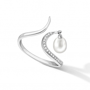 Sterling Silver Pearl Snowdrop Ring