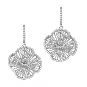 Sterling Silver Rhodium Plated Cascade Stud Drop Earrings