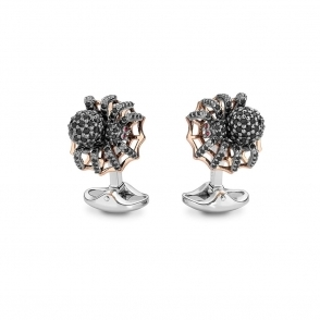 Sterling Silver, Rose Gold & Spinel Spider Cufflinks