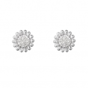 Sterling Silver Sunflower Diamond Set Earrings