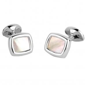 Sterling Silver White Mother of Pearl Cushion Shaped Cufflinks